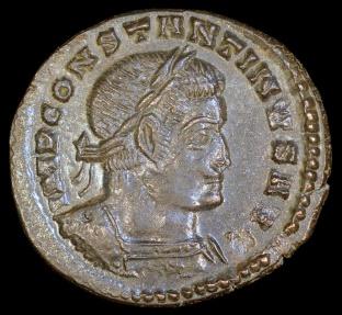 Ancient Coins - Constantine I Ae Follis - SOLI INVICTO COMITI - Lyons Mint