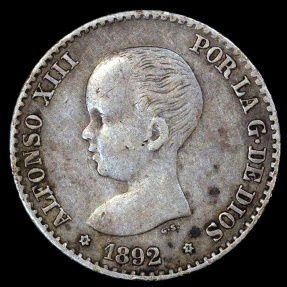 World Coins - 1892 (92) Spain 50 Centimos - Alfonso XIII - XF