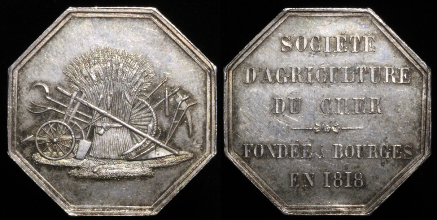 World Coins - 1818 France - Jeton - Founding of the Cher Agricultural Society in Bourges