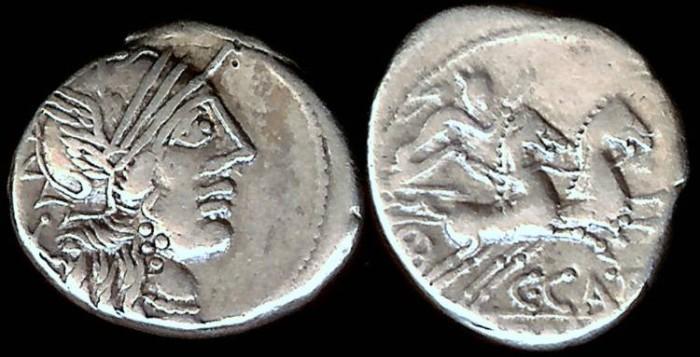 Ancient Coins - C. Porcius Cato Denarius (123 BC)