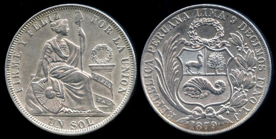 World Coins - 1879 YJ Peru 1 Sol Type III AU