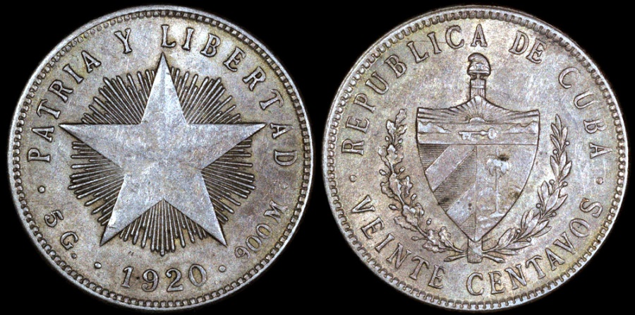 "World Coins - 1920 Cuba 20 Centavos - ""Low Relief Star"" - AU"
