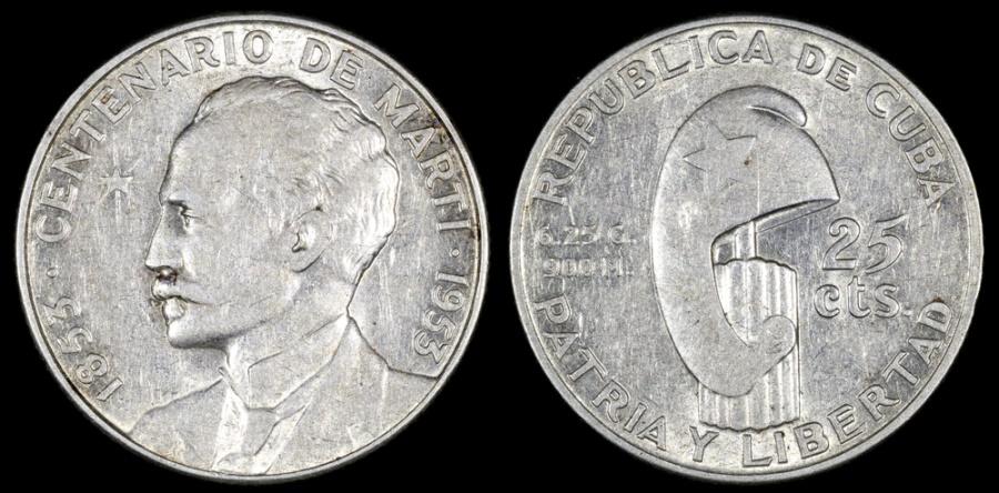 "World Coins - 1953 Cuba 25 Centavos ""Birth of Jose Marti Centennial"" Silver Commemorative XF"