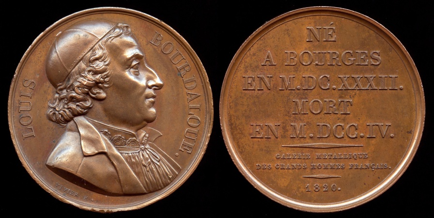 """World Coins - 1820  France - Louis Bourdaloue, French Jesuit and preacher, often described as """"king of preachers and the preacher of kings"""" by Pierre-Simon-Benjamin Duvivier"""
