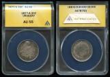 World Coins - 1877 A Uruguay 20 Centesimos ANACS AU55