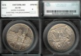 World Coins - 1876 Switzerland (Lausanne) 5 Franc Shooting Thaler SEGS AU55