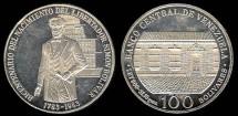 World Coins - 1983 (W) Venezuela 100 Bolivares - 200th Anniversary - Birth of Simon Bolivar - Silver Proof
