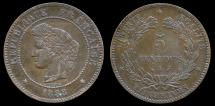 World Coins - 1888 A France 5 Centimes AU