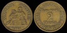 World Coins - 1924 France 2 Franc XF