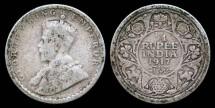 World Coins - 1917 India (British) 1/4 Rupee F