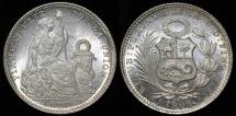 World Coins - 1905 JF Peru 1 Dinero BU