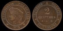 World Coins - 1878 A France 2 Centimes AU