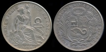 World Coins - 1893 TF Peru 1 Sol (Overstruck 1393 Date) XF