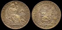 World Coins - 1892 TF Peru 1 Sol AU