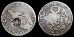 World Coins - 1832-34 Philippines Countermarked 8 Real XF