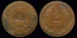 World Coins - 1899 KB Hungary 2 Filler UNC