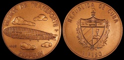 World Coins - 1988 Cuba 1 Peso - Zeppelin - BU (Only 2,500 Pieces Were Struck)