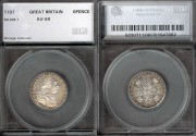 World Coins - 1787 Great Britain 6 Pence SEGS AU58