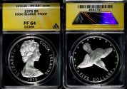 World Coins - 1976 Cook Islands 5 Dollars - Wildlife Conservation Silver Commemorative (small mintage) - ANACS PF64 Deep Cameo - This one is the Highest Graded by ANACS!