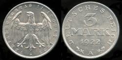 World Coins - 1922 A Weimar Republic (Germany) 3 Mark BU