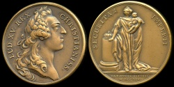 World Coins - 1754  France - Louis XV - Birth of the Duke of Berry (Louis XVI) by Jean Duvivier and Francois Joseph  Marteau