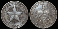 "World Coins - 1915 Cuba 1 Peso ""Star Peso"" Low Relief Star - AU"