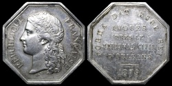 World Coins - 1879 France - Jeton - Solicitors to the Civil Court of Orleans by Jean-Auguste Barre