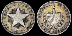 "World Coins - 1915 Cuba 20 Centavos - ""Coarse Reeding - High Relief Star"" - XF Silver (Scarce Type!)"