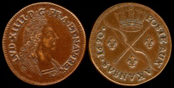 World Coins - 1690  France - Louis XIV Sol coin from Poste Aux Akansas