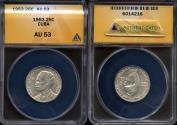 """World Coins - 1953 Cuba 25 Centavos - """"Birth of Jose Marti Centennial"""" Silver - ANACS AU53"""