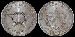World Coins - 1915 Cuba 1 Centavo - 1st Republic - AU