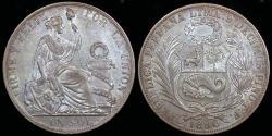 World Coins - 1890 T.F. Peru 1 Sol UNC