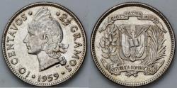 World Coins - 1959 Dominican Republic 10 Centavos AU
