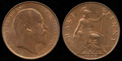 World Coins - 1908 Great Britain 1/2 Penney BU