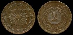 World Coins - 1869 A Uruguay 2 Centesimos AU