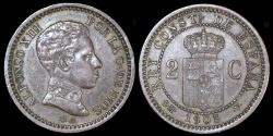 World Coins - 1905(05) Spain 2 Centimos - Alfonso XIII - AU