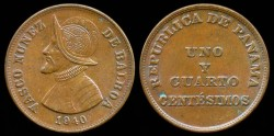 World Coins - 1940 Panama 1-1/4 Centesimo AU