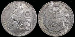 World Coins - 1875 Y.J Peru 1 Sol UNC