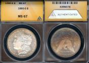 Us Coins - 1880s Morgan Dollar ANACS MS67