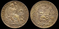 World Coins - 1892 TF Peru 1 Sol AU