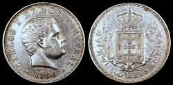 World Coins - 1896 Portugal 500 Reis - Carlos I - XF
