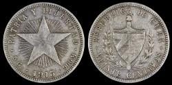 "World Coins - 1915 Cuba 20 Centavos ""Coarse Reeding - Low Relief Star"" XF"