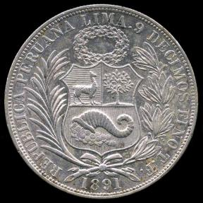 World Coins - 1891 TF Peru 1 Sol UNC