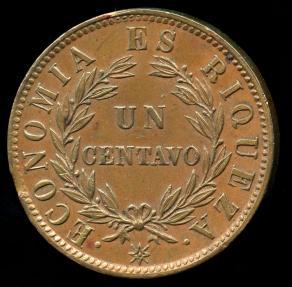 World Coins - 1853 Chile 1 Centavo AU