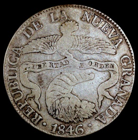World Coins - 1846 RS Colombia 8 Real - Early Republic Silver - VF