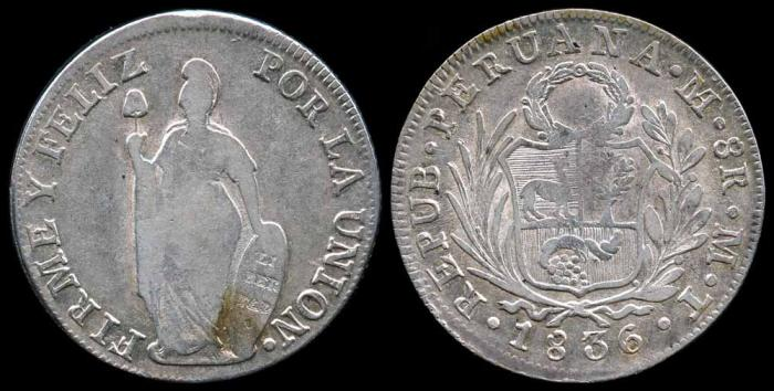 World Coins - 1836 MT Peru 8 Reales XF