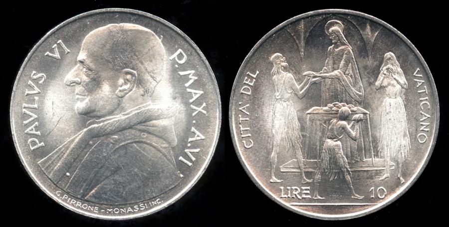 World Coins - 1968 Vatican 10 Lire - Pope Paul VI - FAO Coin - BU