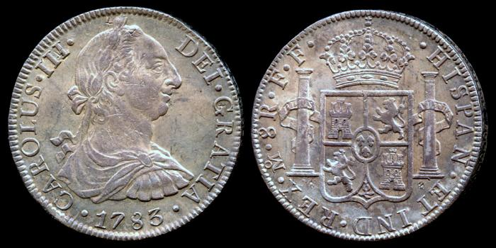 World Coins - 1783 Mo-FF Mexico 8 Reales AU