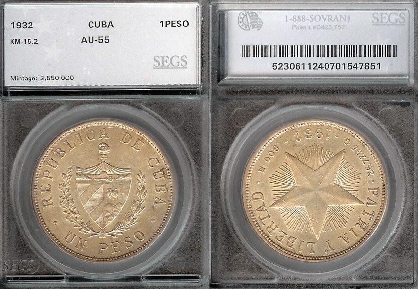 "World Coins - 1932 Cuba 1 Peso - ""Star Peso"" SEGS AU55"