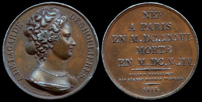 World Coins - 1818 France - Antoinette Du Ligier de la Garde Deshoulières (French poet) by Caroline F. Grandjean